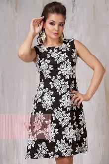 Платье женское 3298 Фемина (Черно-белый розы)