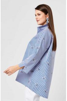 """Блуза """"Лина"""" 4185 (Белый, голубой полоска)"""
