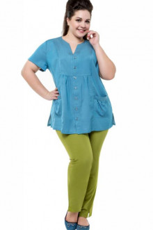 """Блуза """"Её-стиль"""" 1102 ЕЁ-стиль (Небесно-голубой джинс)"""