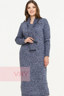 Платье женское 182-2332 Фемина (Индиго/белый/черный)